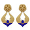 Infinity Blue Pota Stone Gold Plated Dangler Earrings - 1313112A