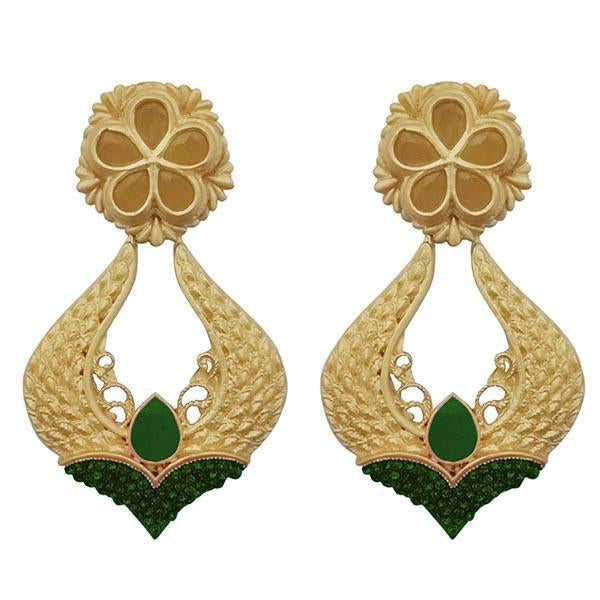 Infinity Green Pota Stone Gold Plated Dangler Earrings