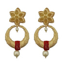 Infinity Red Austrian Stone Pearl Drop Gold Plated Dangler Earrings