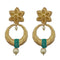 Infinity Blue Austrian Stone Pearl Drop Gold Plated Dangler Earrings - 1313113C