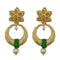 Infinity Green Austrian Stone Pearl Drop Gold Plated Dangler Earrings