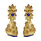 Infinity Blue Austrian Stone Pearl Drop Gold Plated Dangler Earrings - 1313114A