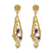 Infinity Blue Austrian Stone Pearl Drop Gold Plated Dangler Earrings - 1313115C