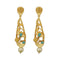 Infinity Blue Austrian Stone Pearl Drop Gold Plated Dangler Earrings - 1313115E