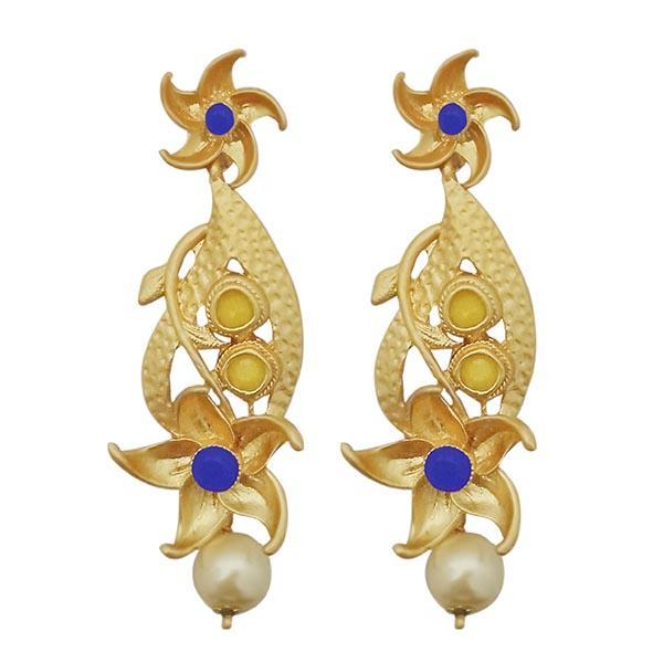 Infinity Blue Austrian Stone Pearl Drop Gold Plated Dangler Earrings - 1313116A