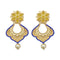 Infinity Blue Austrian Stone Pearl Drop Gold Plated Dangler Earrings - 1313117A