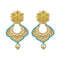 Infinity Blue Austrian Stone Pearl Drop Gold Plated Dangler Earrings - 1313117D