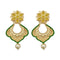 Infinity Green Austrian Stone Pearl Gold Plated Dangler Earrings