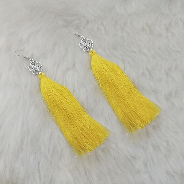 Jeweljunk Yellow Thread Austrian Stone Tassel Earrings