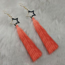 Jeweljunk Peach Gold Plated Star Design Tassel Earrings