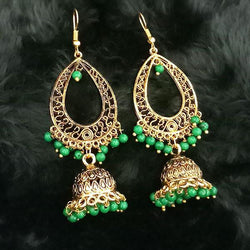 Tip Top Fashions Green Beads Antique Gold Plated Jhumki Earrings - 1313506D