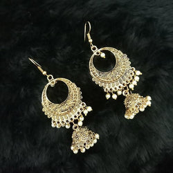 Tip Top Fashions White Beads Antique Gold Plated Jhumki Earrings - 1313513