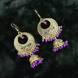 Tip Top Fashions Purple Beads Antique Gold Plated Jhumki Earrings - 1313514A