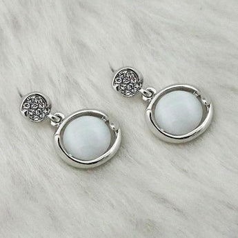 Kriaa Resin Stone Rhodium Plated Dangler Earrings - 1313623B