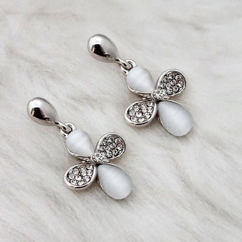 Kriaa Resin Stone Rhodium Plated Dangler Earrings - 1313628B