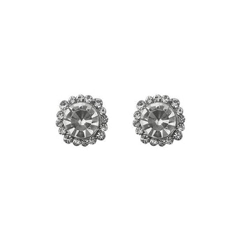 Kriaa Austrian Stone Silver Plated Stud Earrings - 1313807
