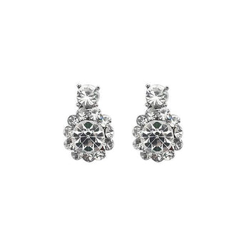 Kriaa Austrian Stone Silver Plated Stud Earrings - 1313811