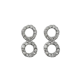 Kriaa Austrian Stone Silver Plated Stud Earrings - 1313814