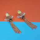Kriaa Gold Plated White Austrian Stone Dangler Earrings - 1313907