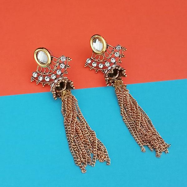 Kriaa Gold Plated White Austrian Stone Dangler Earrings - 1313908