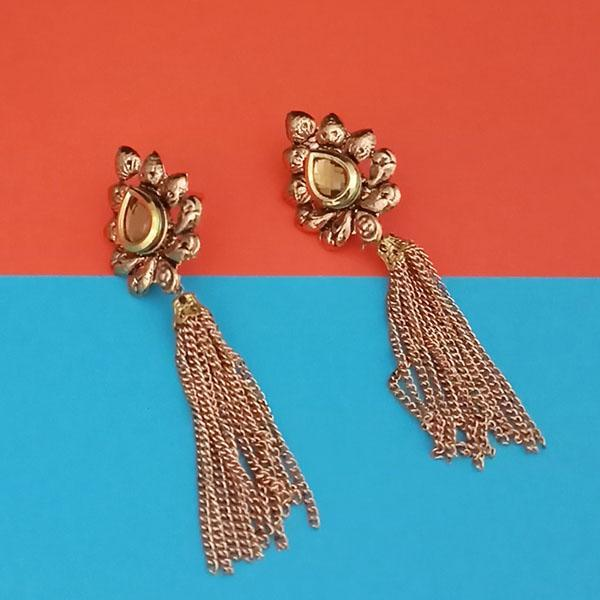Kriaa Gold Plated Brown Austrian Stone Dangler Earrings - 1313910