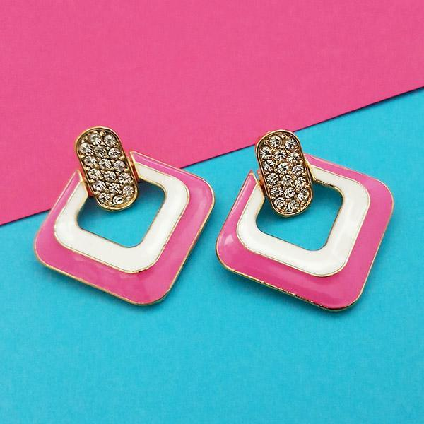 Kriaa Gold Plated Austrian Stone Pink Meenakari Earrings - 1314123B