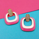 Kriaa Gold Plated Austrian Stone Pink Meenakari Earrings - 1314124A