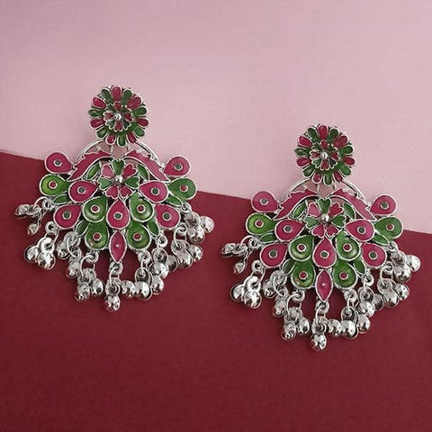 Tip Top Fashions Silver Plated Green Meenakari Afghani Earrings - 1314250B