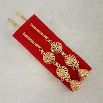 Kriaa Gold Plated Jhumki Chain Earrings - 1314304