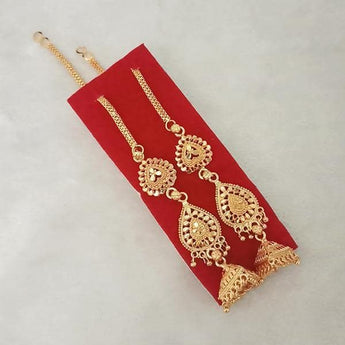 Kriaa Gold Plated Jhumki Chain Earrings - 1314305