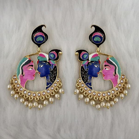 Kriaa Kundan Stone Radha Krishna Meenakari Dangler Earrings - 1314426B