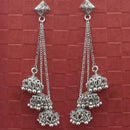 Jeweljunk Oxidised Plated Chain Jhumki Earrings -1314598