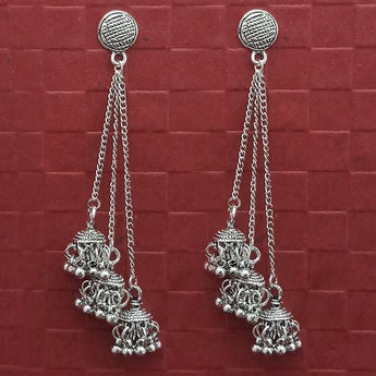 Jeweljunk Oxidised Plated Chain Jhumki Earrings -1314599
