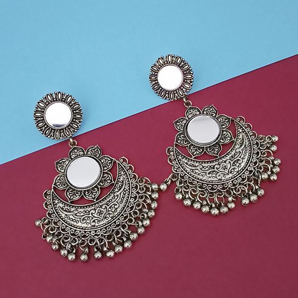 Tip Top Fashions Silver Plated Mirror Dangler Earrings - 1314801A