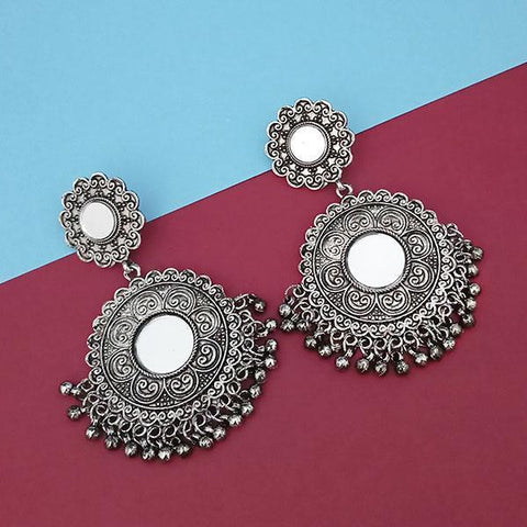 Tip Top Fashions Silver Plated Mirror Dangler Earrings - 1314804A