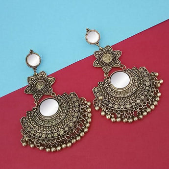 Tip Top Fashions Gold Plated Mirror Dangler Earrings - 1314809B