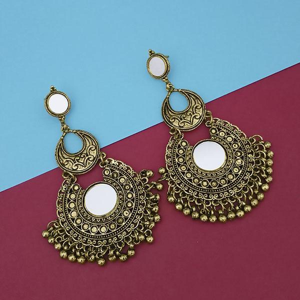 Tip Top Fashions Gold Plated Mirror Dangler Earrings - 1314812B