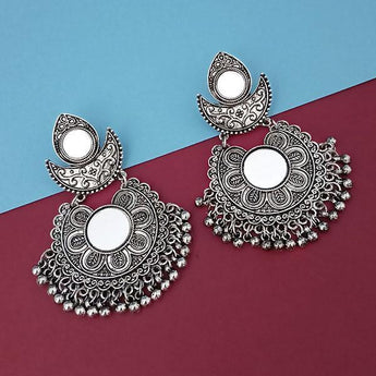 Tip Top Fashions Silver Plated Mirror Dangler Earrings - 1314814A