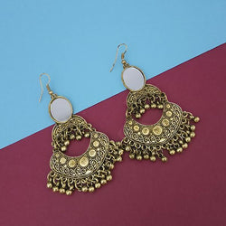 Tip Top Fashions Gold Plated Mirror Dangler Earrings - 1314826B