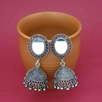 Tip Top Fashions Silver Plated Mirror Jhumki Earrings - 1314828A