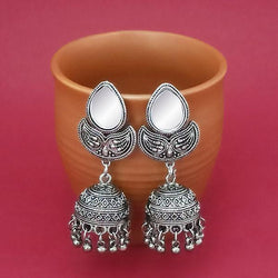 Tip Top Fashions Silver Plated Mirror Jhumki Earrings - 1314830A