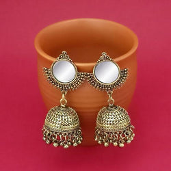 Tip Top Fashions Gold Plated Mirror Jhumki Earrings - 1314832B