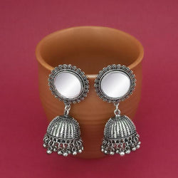 Tip Top Fashions Silver Plated Mirror Jhumki Earrings - 1314833A
