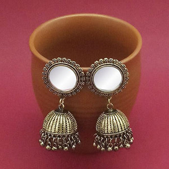 Tip Top Fashions Gold Plated Mirror Jhumki Earrings - 1314833B