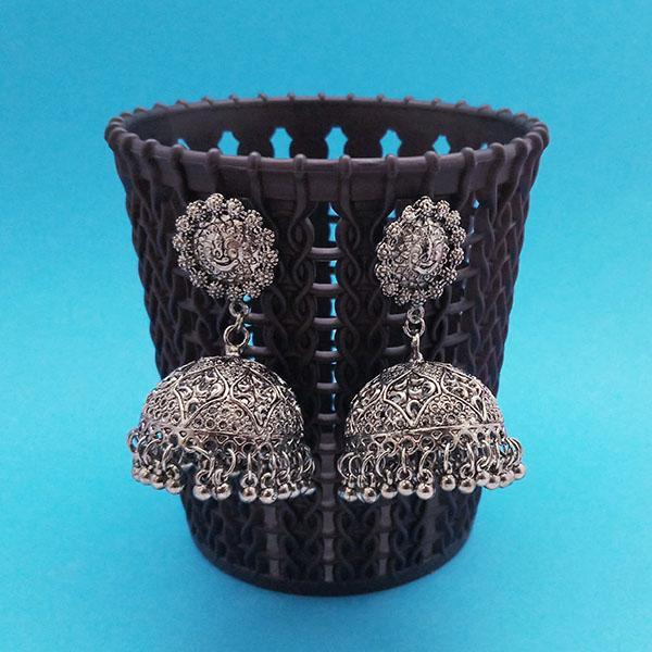 Jeweljunk Oxidised Plated Jhumki Earrings - 1314845