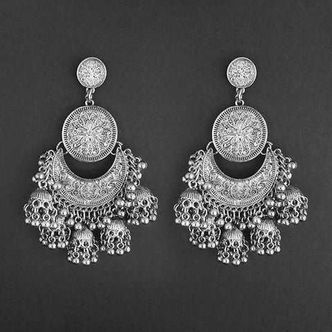 Jeweljunk Silver Plated Afghani Dangler Earrings  - 1314854A