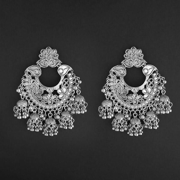 Jeweljunk Silver Plated Afghani Dangler Earrings  - 1314857A