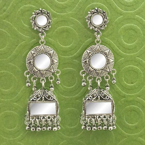 Jeweljunk Silver Plated Mirror Dangler Jhumki Earrings  - 1314901