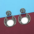 Jeweljunk Silver Plated Mirror Dangler Earrings - 1314920