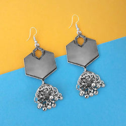 Tip Top Fashions Oxidised Plated Mirror Jhumki Earrings - 1314953A